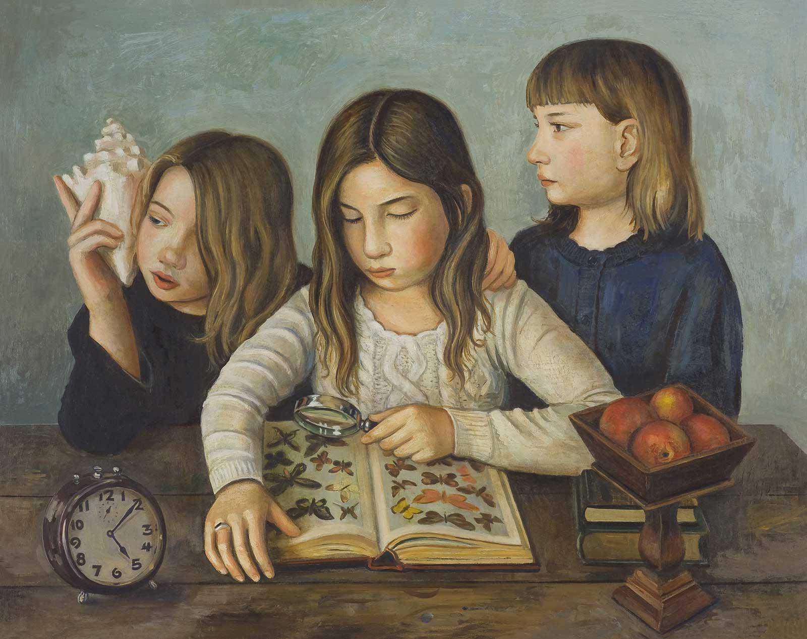 Girls Studying Nature