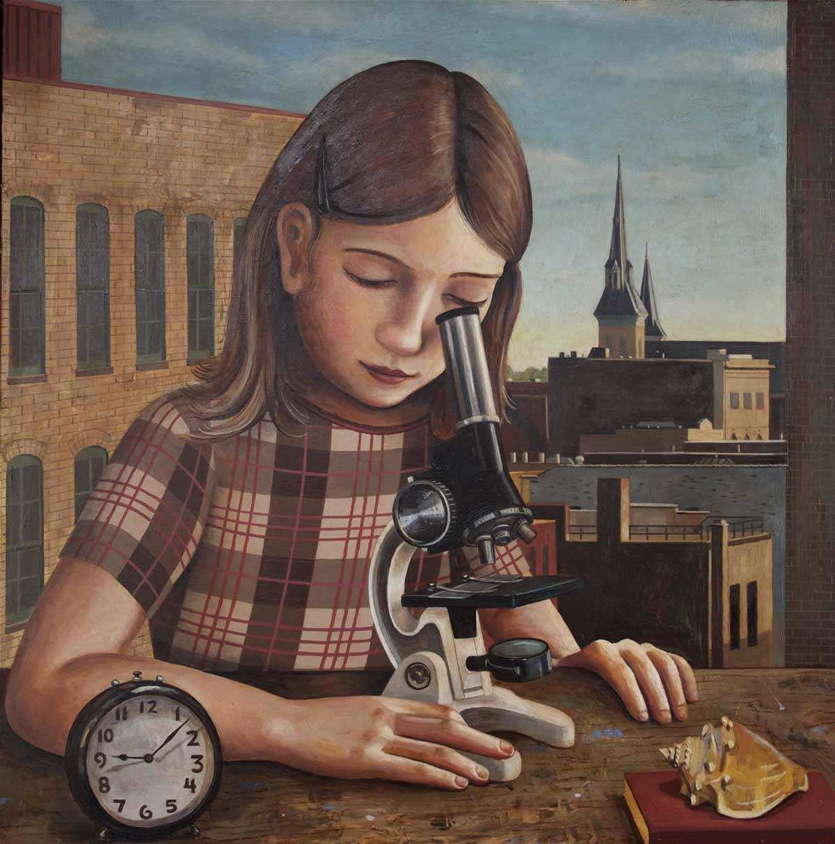 Girl With Microscope In The Morning